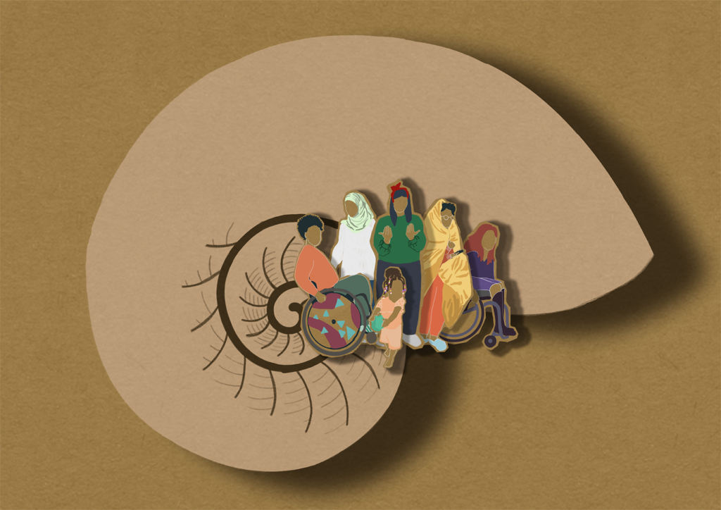 The image is a paper cut artwork that looks layered and tactile. If you were to run your hands over it in real life you would feel at its centre a grouping of 5 cut out adult characters and one child. The cut out characters depict a group of marginalized UK Citizens at the core of the image. Two are seated in their wheelchairs. One stands behind wearing a hijab. The central character is mid - sign, signing 'welcome' in British Sign Language. If you are fluent in BSL you might recognize what she is saying more intimately than someone unfamiliar with the language. The last character is wrapped in a duvet with fluffy slippers on their feet clearly navigating fatigue. Behind them is a larger paper cut out of a shell. The shells spiral pattern is also cut out and coils outward from the group at it's centre. If experiencing the artwork in situ you would be able to touch the cut out spiral moving out from the characters in the centre around and out until you are touching the outer edge of the shell. I discuss the meaning of this image further within the body of text for my projects which I understand your screen reader should detect as you navigate my page and projects. Without the accompanying projects and text I hope you can find your own artistic meaning for the tactile artwork as a stand alone piece. Enabling folks to come to their own conclusions about what it means is why I have chosen this artwork as the feature image on my page.