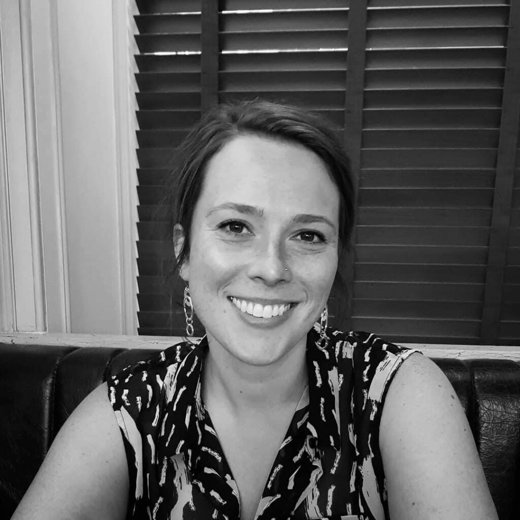 Black and white image of Felicity Herrington