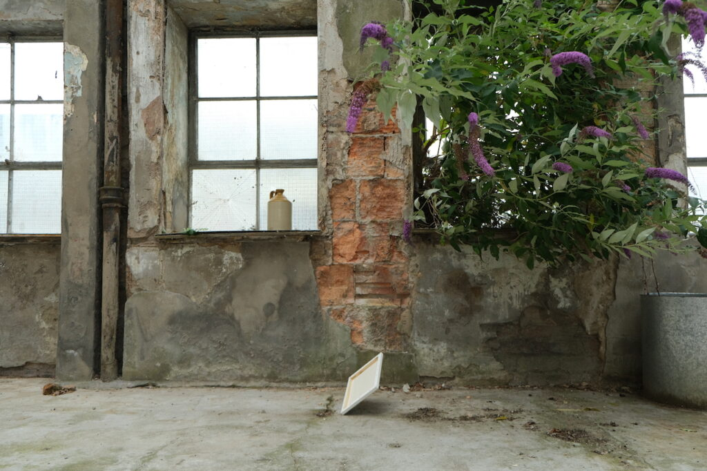 A stretched canvas is photographed mid-air as it falls from a run-down wall partially covered by a large blooming purple buddleia plant