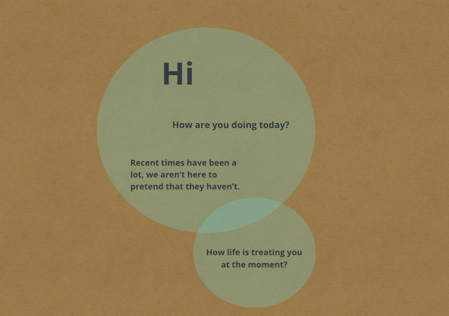 A depiction of being spoken to by the Emerging Community Persona devised and created out of shared experience. Text reads 'Hi, How are you doing today? Recent times have been a lot, we aren't here to pretend they haven't. How is life treating you at the moment?'