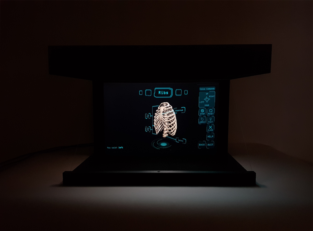 Picture of the tabletop HoloViewer in a dark room showing a scene from the HoloAnaotmy app